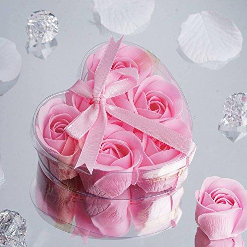 Efavormart Lot of 50 Birthday Banquet Event Wedding Decoration Party Favor Heart Rose Soap Petals| Color| Pink ()