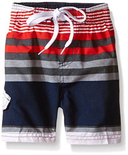 Kanu Surf Little Boys' Toddler Optic Stripe Swim Trunk, Navy/Red, 4T