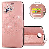 IKASEFU Huawei Y5 II Case,Clear Crown Rhinestone Diamond Bling Glitter Wallet with Card Holder Emboss Mandala Floral Pu Leather Magnetic Flip Case Protective Cover for Huawei Y5 II,Rosa Gold