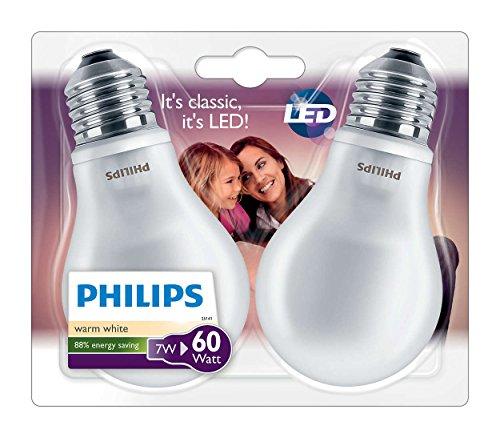 Philips Confezione Lampadine LED, Attacco E27, 7W-60W, Vetro, Bianco, 2...