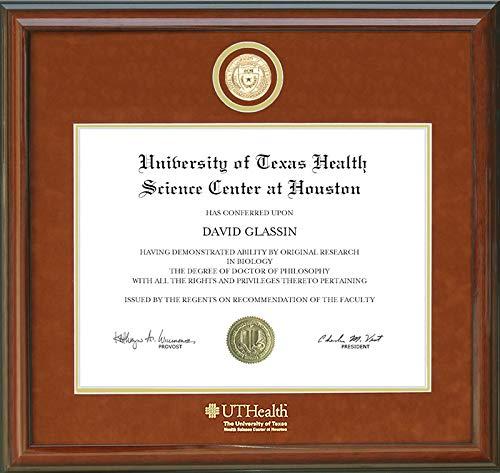 Wordyisms UT Health Science Center (UTHealth) Diploma Frame with Gold School Medallion