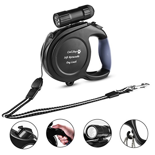 Cool-Shop 16ft Retractable Dog Leash with 9 LED Detachable Flashlight (Dog Retractable Flashlight Leash)