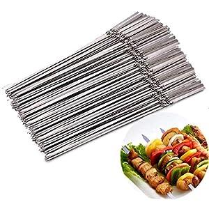 JNT- 15pcs riutilizzabili spiedini di barbecue in acciaio inox piatto barbecue bastone ago for esterni attrezzi da… 4 spesavip