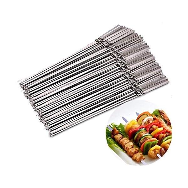 JNT- 15pcs riutilizzabili spiedini di barbecue in acciaio inox piatto barbecue bastone ago for esterni attrezzi da… 1 spesavip