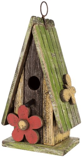 Carson Home Accents Birdhouse, 11-Inch High, Green Roof - Green Birdhouse