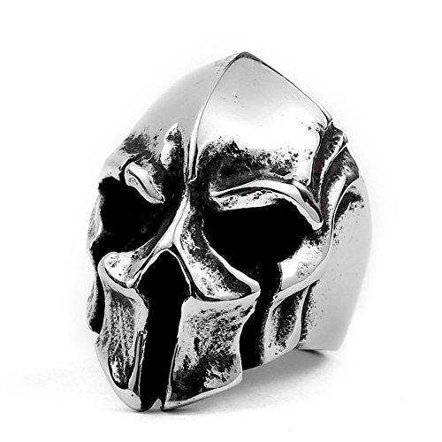Excow Jewelry Spartan Warriors Helmet Skull Ring Stainless Steel Sparta Mask Motorcycle Biker Rings for Men,Silver,Size -