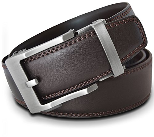 Men's Leather Ratchet Click Belt - Lincoln Matte Silver Buckle with Double Stitched Brown Leather Belt (Trim to Fit: Up to 38'' -