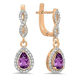 Amethyst Pear Gemstone & Round White Diamond Teardrop Earrings