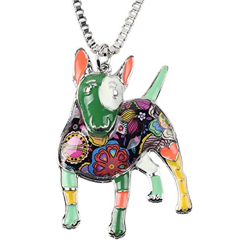 "BONSNY Collection ""BOWSER"" Love Heart Enamel Alloy Pets English Bull Terrier Dog Necklace Animal Women pendant 18"" … (Green)"
