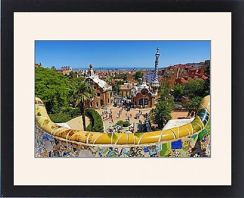Framed Print of Parc Guell park with architecture deisgned by Antoni Gaudi in Barcelona, Spain by Prints Prints Prints
