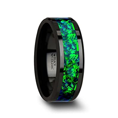 PULSAR Black Ceramic Wedding Band With Beveled Edges And Emerald Green Sapphire Blue Color Opal