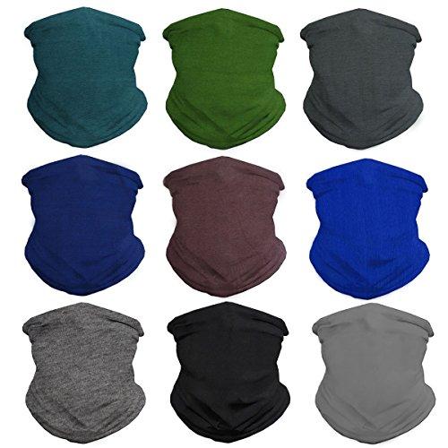 Eytan 9 Pcs Multifunctional Headwear Face Shield Neck Gaiter Scarf Wrap Face Mask Headband for Riding, Hiking - Magic Sports Seamless Tube Bandana (Solid Dark)