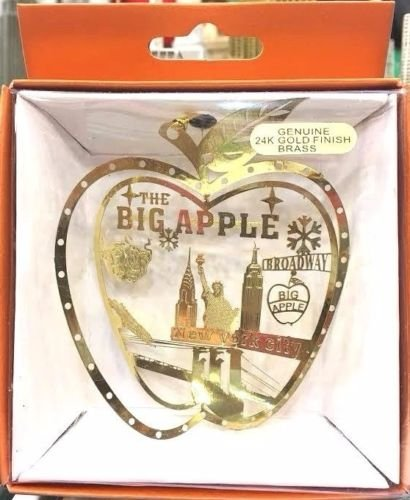 New York City Big Apple Christmas Ornament (24k Gold Finish)