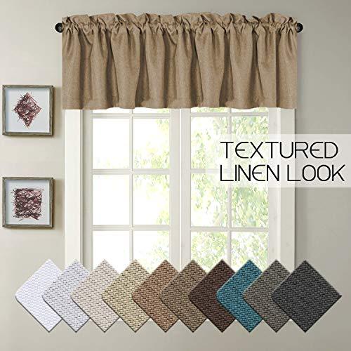 H.VERSAILTEX Blackout Energy Saving Linen Thick Window Valance, Rod Pocket Primitive Curtain Valances, 52 x 18, Prairie Sand, 1 Panel