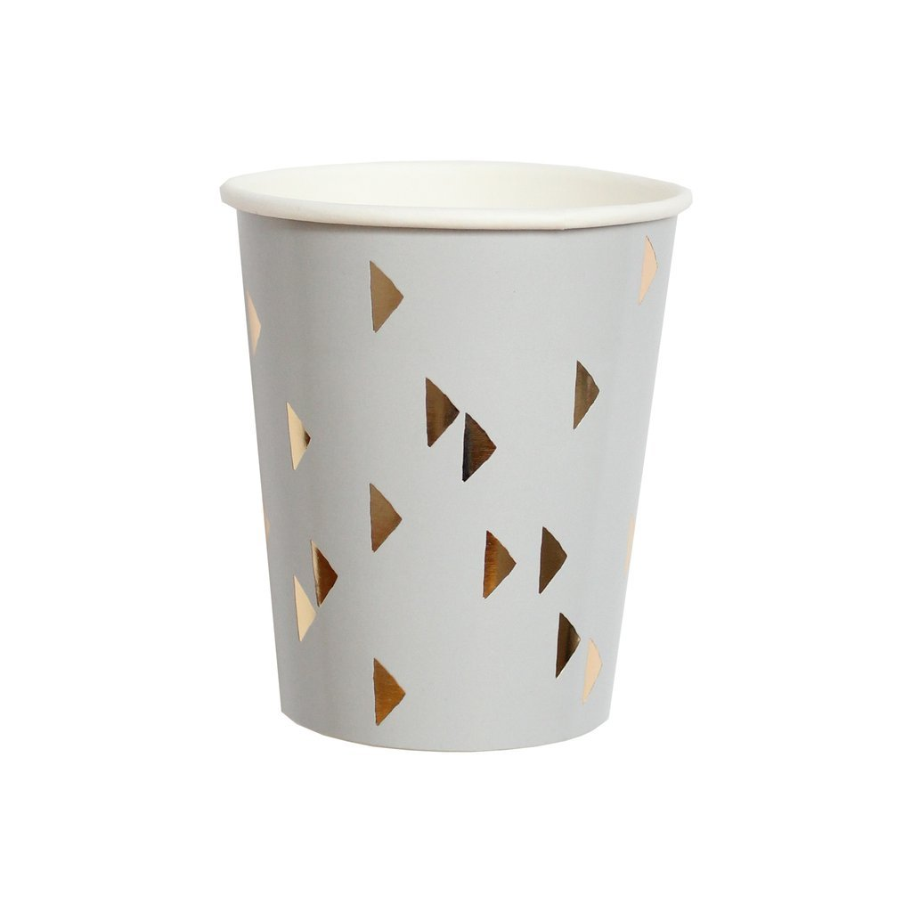 Gold Foil Triangles Boho Paper Cups - Birthday Party Disposable Cups - Harlow & Grey Wander (8 Count)