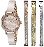 Anne Klein Women's AK/2180BLST Swarovski Crystal Accented Rose Gold-Tone and Blush Pink Ceramic Bangle Watch and Bracelet Set
