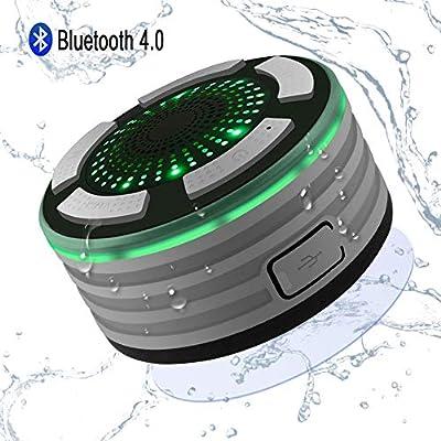 Altoparlante Bluetooth,Alitoo Wireless Speaker della Doccia IPX7 Impermeabile con FM Radio,Super Basso e HD Sound,Microfono Incorporato LED illuminazione e Ventosa per Auto Bagno Piscina Spiaggia