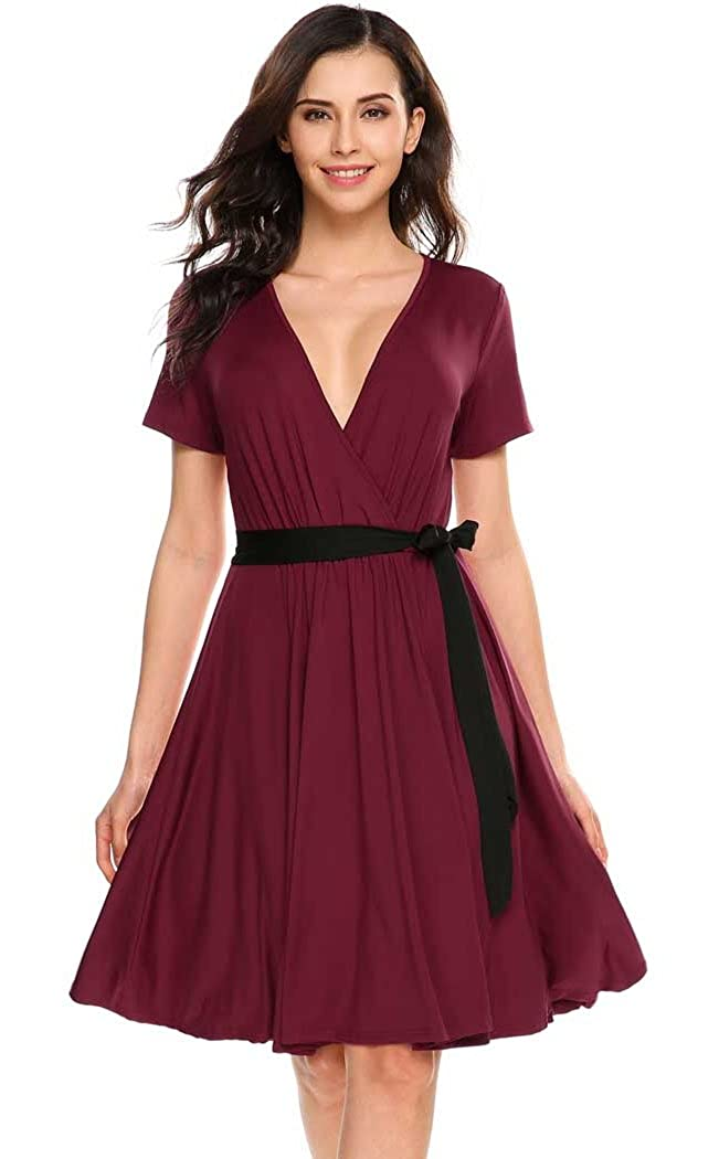 9a2fc13f461b OURS Women Casual V Neck Short Sleeve Fit Flare Swing Dress Pleated T Shirt Midi  Dresses Belt (XL, Wine Red) at Amazon Women's Clothing store: