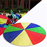 Play Parachute with 16 Handles,Kid's Play Parachute Canopy (3m/9.84 ft) Jump-Sack Ballute Educational Play Parachute Indoor & Outdoor Games and Exercise Toy Cooperative Games for Kids Age 3+