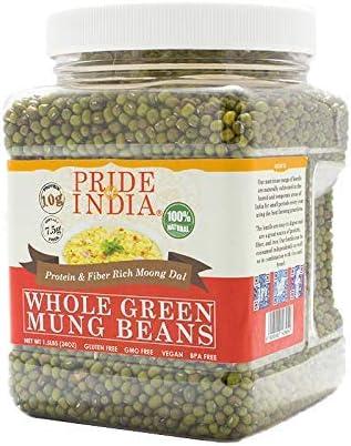 El orgullo de la India india verde mungo conjunto gramo de proteína y fibra rico conjunto de mungo frasco de 3 libras de frijol