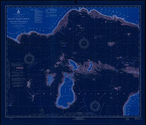 - Vintography Blueprint Style 18 x 24 Art Canvas Wrap 1923 Nautical Chart Beaver Island Group Including North Shore of Lake Michigan from WAUGOSHANCE Point to SEUL CHOIX Point by Lake Survey MI