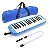 32 Key Melodica Instrument Keyboard Soprano With Mouthpiece,Carrying Bag (Blue)