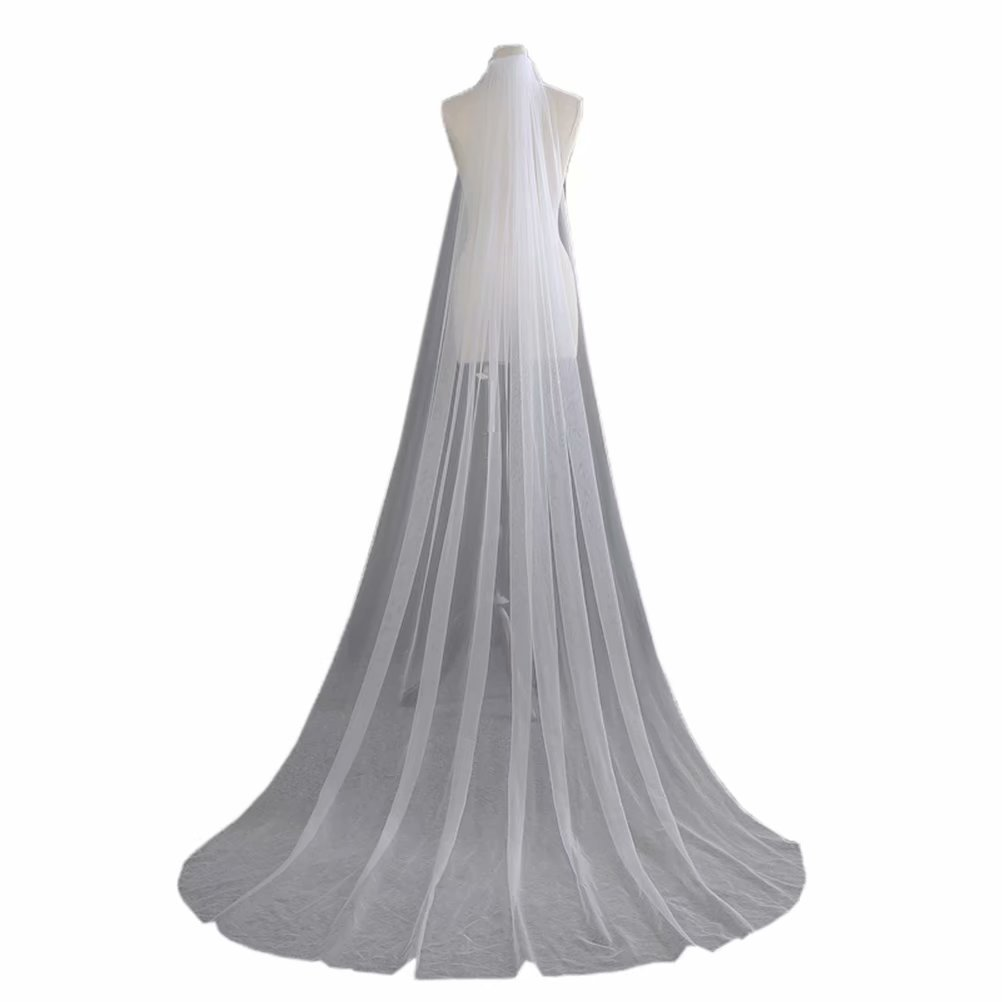 SABridal Cut Edge Tulle Comb Wedding Veils Cathedral Length 1 Tier Long Bride Veil C Ivory