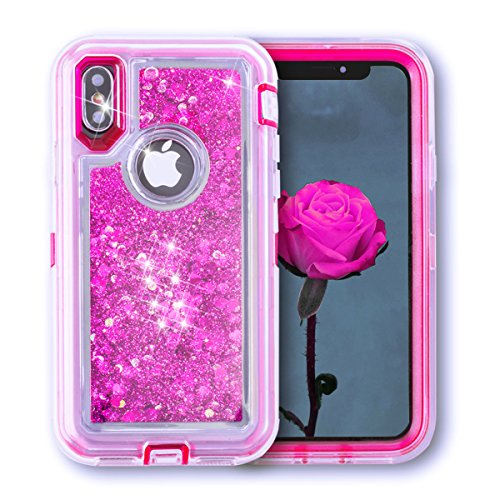 iPhone X/10 Shockproof Dual Layer Glitter Sparkle Quicksand Liquid Cover Bumper Anti-Drop Hard PC Frame + Soft TPU Back for Apple iPhone X (Hot ()