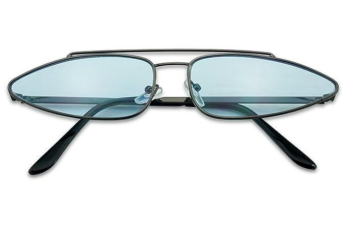 f8a78c71910f Amazon.com  SunglassUP - Long Narrow Oval Cat Eye Sun Glasses Designer  Cross Brow Vintage Metal Flat Candy Color Lens Shades (Gunmetal Frame
