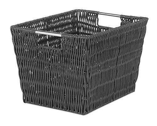 Whitmor Rattique Small Storage Tote (Black Wicker Storage Baskets)