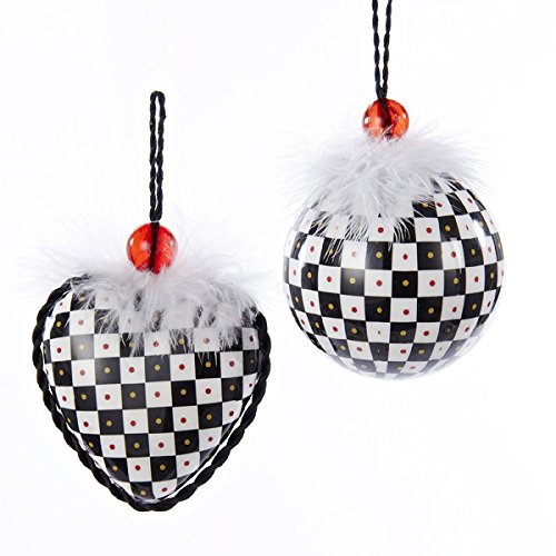 Checkered Decoupage Heart/ Ball Ornaments (Set of 2) Black and White (Ball Decoupage)
