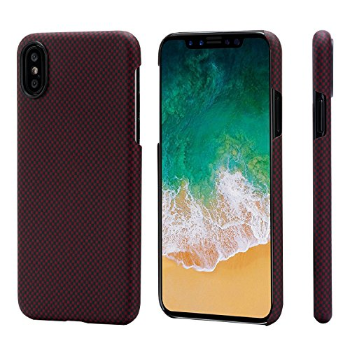 Minimalist iPhone X Case,PITAKA Magcase Aramid Fiber[Real Body Armor Material]Phone Case,Ultra Thin(0.03in) Super Light(0.49oz) Strongest Durable Snugly Fit Snap-on Case for iPhone X-Black/Red(Plain)