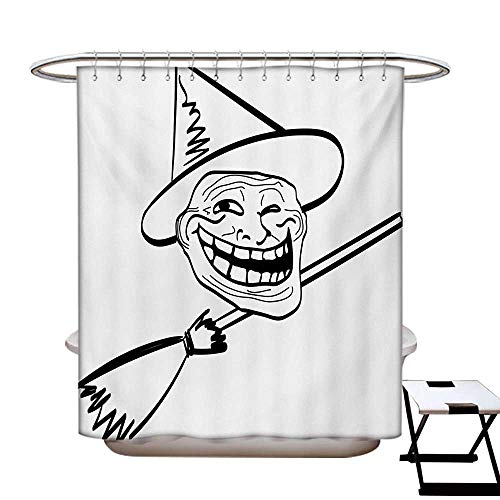 Humor Shower Curtains Waterproof Halloween Spirit Themed Witch Guy Meme LOL Joy Spooky Avatar Artful Image Print Fabric Bathroom Decor Set with Hooks W69 x L75 Black and White]()