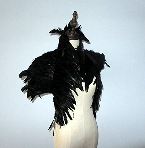 [32inch Long 2 Layer Black Hnadmade Feather Cape SHAWL Shrug Shoulders Halloween costume ,vintage capelet for] (Black Costumes Bonnet)