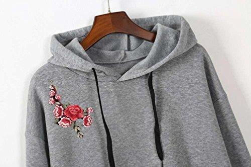 Goodsatar De las mujeres Sudadera con capucha de manga larga O-cuello Jumper Sudadera Pullover Tops Blusa Gris2