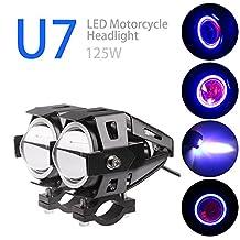 Lemonbest Car Motorcycle LED Headlight CREE U7 LED Fog Lamp Front Spot Light DRL Spotlight Driving Daytime Lights Blue Circle Pack of 2