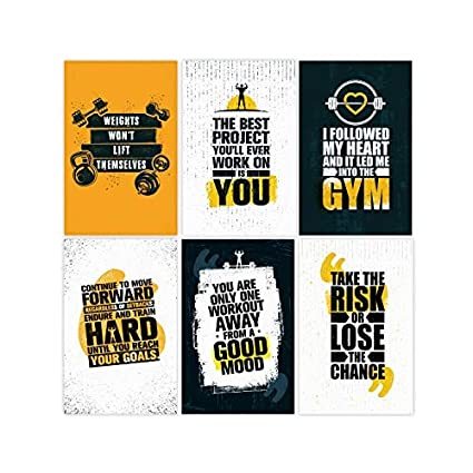 Set Of 6, 11x17 Inspirational Gym Posters | Motivational Fitness Wall Art  For Home Gym Decorations | Bodybuilding Poster For Teens | Workout Prints