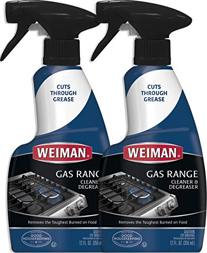 (Weiman Gas Range Cook Top Cleaner and Degreaser - 12 Ounce 2 Pack - Removes Burnt-on Food, Non-Abrasive, Daily Cooktop Cleaner and Polish)