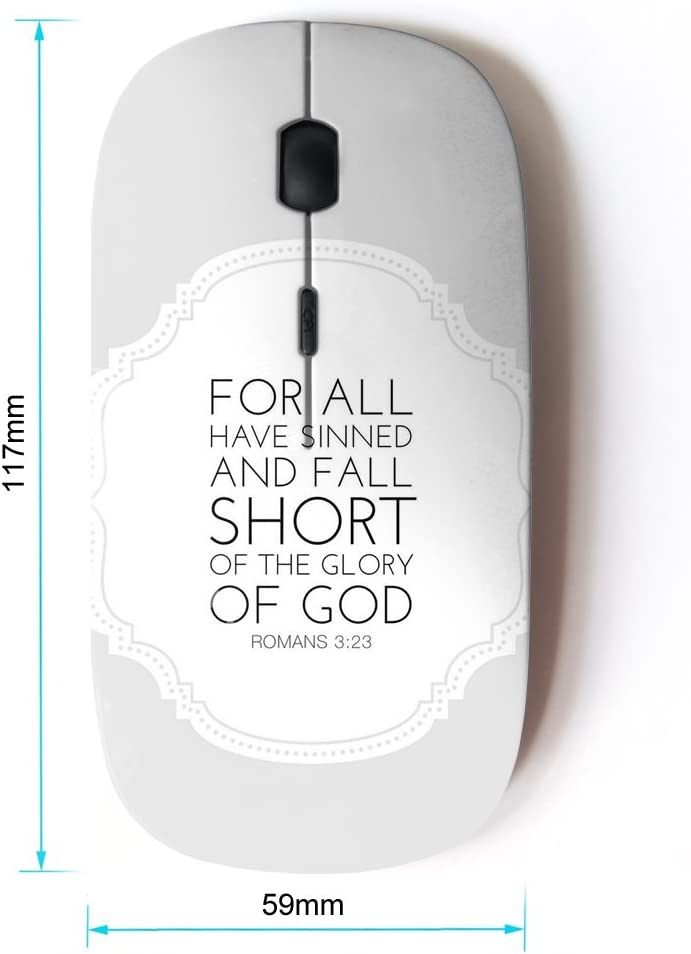 KOOLmouse Optical 2.4G Wireless Computer Mouse Bible Verse Romans 3:23 Glory of The GOD