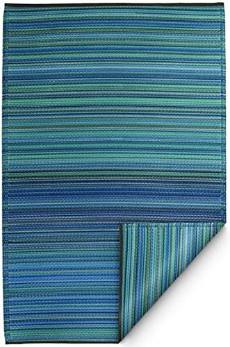 (Fab Habitat Reversible Rugs | Indoor or Outdoor Use | Stain Resistant, Easy to Clean Weather Resistant Floor Mats | Cancun - Turquoise & Moss Green, (6' x 9'))