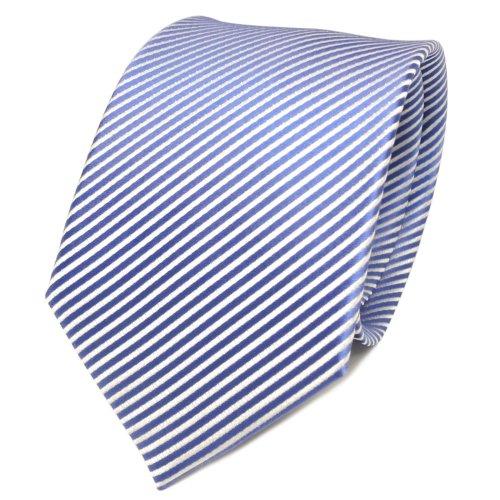 TigerTie Designer cravate en soie bleu blanc rayé - cravate en soie