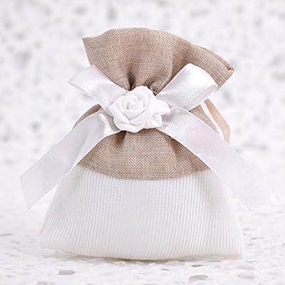 723a356438b5 Fai da Te 20 Sacchetti Porta Confetti Bianchi con Rosa in Gesso - per  Battesimo - Comunione - Cresima - 18 Anni - Compleanno (Beige) -  Bigliettini ...