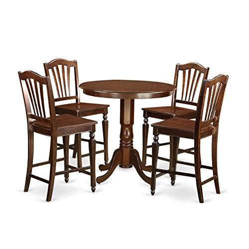 East West Furniture JACH5-MAH-W 5 Piece Counter Height Table and 4 Bar Stools Set, Mahogany Finish - Mahogany Walnut Bar Stool