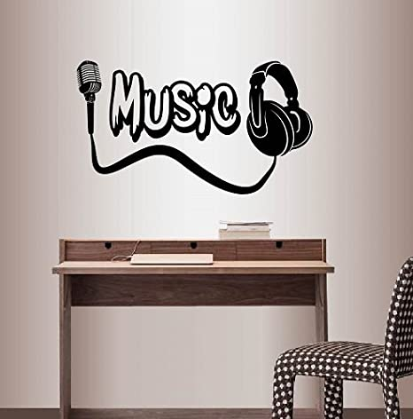 Wall Tattoo Music Headphones With Lettering Wall Sticker Decoration