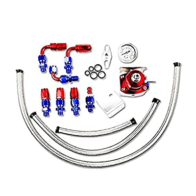 SUNROAD Universal Adjustable Aluminum Fuel Pressure Regulator Valve Kit + 100 Psi Pressure Gage AN6 Fitting Connectors Kit Red & Blue