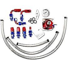 Universal Adjustable Aluminum Fuel Pressure Regulator Valve Kit + 100 Psi Pressure Gage AN6 Fitting Connectors Kit Red & Blue
