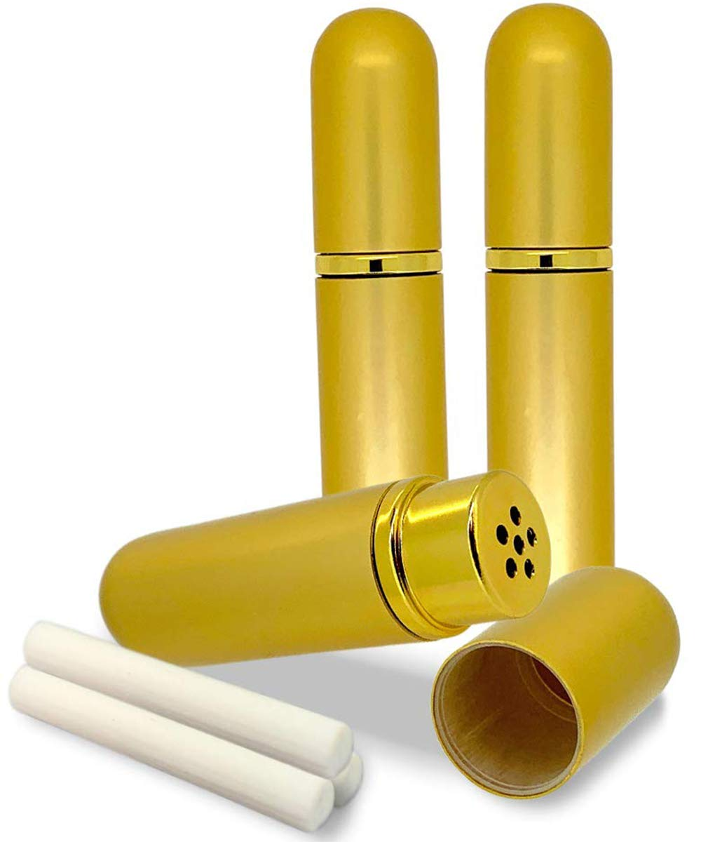 Got Oil Supplies Gold Aromatherapy Inhalers 3 Empty Aluminum Personal Aroma Diffuser Tubes With Glass Cotton Wick Inserts