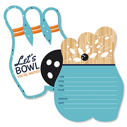 Strike Up the Fun - Bowling - Shaped Fill-In Invitations - Birthday Party or Baby Shower Invitation Cards with Envelopes - Set of 12 Bowling Ball Invitations
