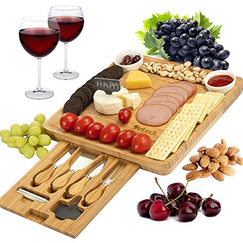 Cheese Board and Cutlery Set Wooden Charcuterie Platter Serving Tray for Wine, Cracker, Brie and Meat
