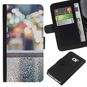 KingStore / Leather Etui en cuir / Samsung Galaxy S6 EDGE / Luces de la ciudad Nyc tráfico Coches
